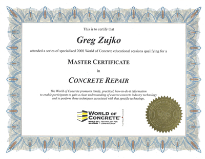 Master Certificate in Concrete Repair